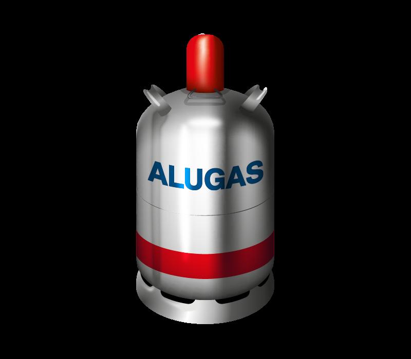 Gasflasche mit der Aufschrift ALUGAS